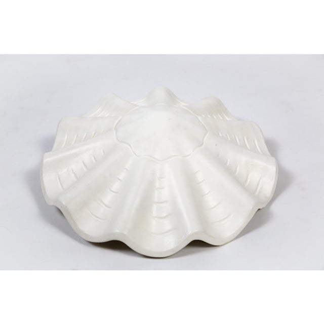 Mid 20th Century White Vintage Casella Undulating Shell Pendant Light For Sale - Image 5 of 10