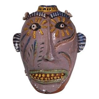 1990s Large Carl Block Folk Art Face Jug For Sale