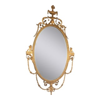 Large Vintage Adams Style Giltwood Mirror For Sale