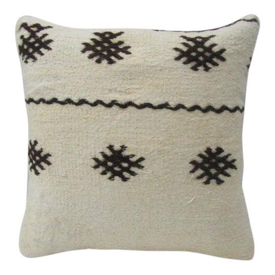 Vintage Black / White Kilim Pillow For Sale