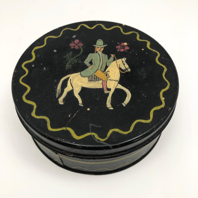 Early 20th Century Antique Hand-Painted Woman on Horse Round Tin Box For Sale - Image 4 of 10