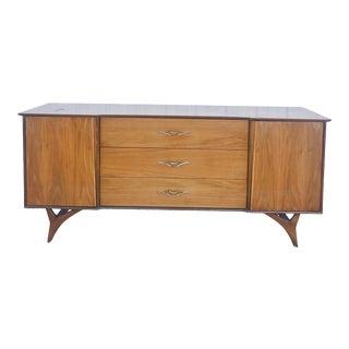 Mid Century Modern Lowboy Dresser in Walnut For Sale