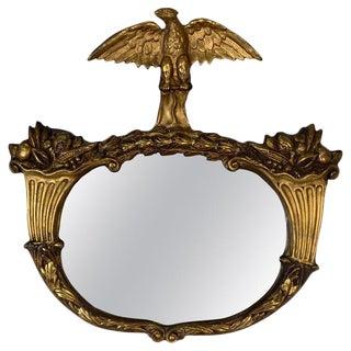 1840s Antique Giltwood and Gesso Americana Mirror With Eagle & Cornucopia Design For Sale