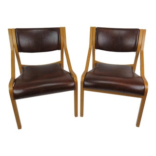 Vintage Mid-Century Modern Thonet Krona Side Chairs - a Pair For Sale
