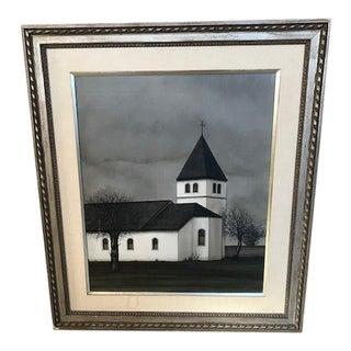 "1960s Vintage Jacques Deperthes ""L'eglise Blanche"" Oil on Linen Painting For Sale"