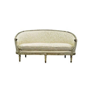 Antique French Louis XVI Style Distress-Painted Ovoid Carved Canapé Sofa For Sale