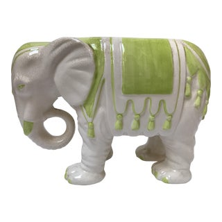 White Ceramic Elephant Planter With Green Tassels