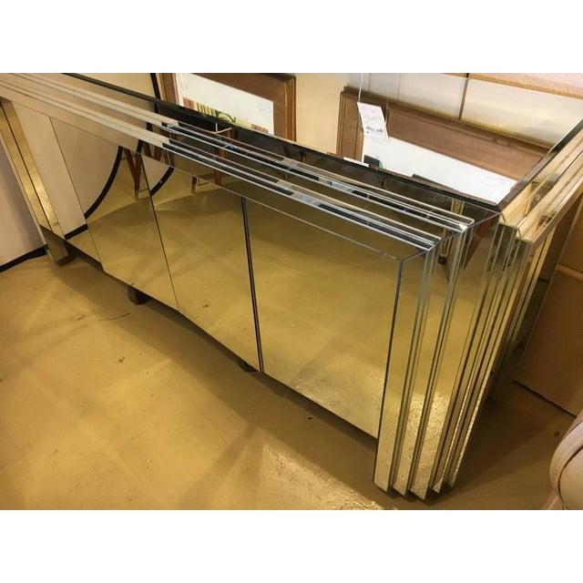 Hollywood Regency 4-Door Mirrored Side Board or Dresser - Image 3 of 8