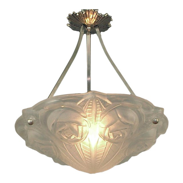 Ornate French Lighting Bowl - Pendant - by Degué, With Nickel-Plated Hanging Device For Sale