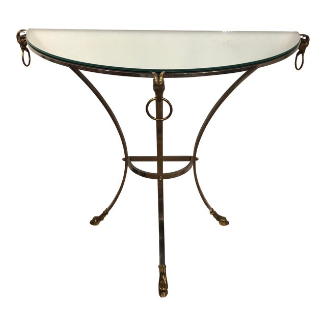 Polished Steel, Mirror and Brass Demi-Lune Form Console For Sale