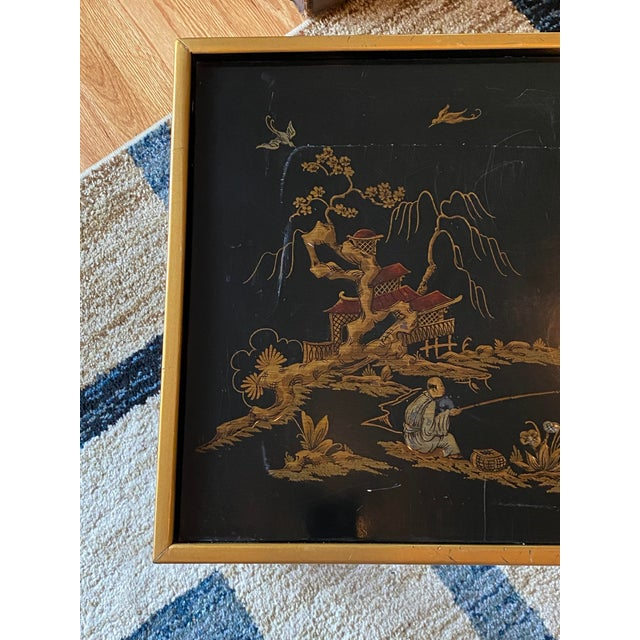 Chinoiserie Drexel Heritage Black Lacquer Side Table For Sale In New York - Image 6 of 11