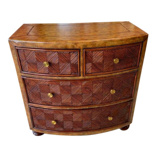 Lineage Leather and Pencil Rattan Chest For Sale