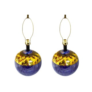 Pair Cobalt Blue Sphere Table Lamps With Gold Detail For Sale
