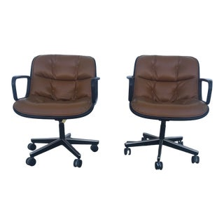 1980s Vintage Knoll Cognac Leather Pollock Executive Armchairs For Sale