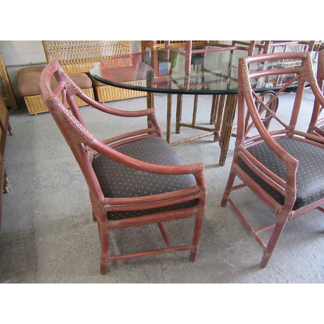 Brown 1970s McGuire Rattan Target Dining Chairs- Set of 6 For Sale - Image 8 of 9