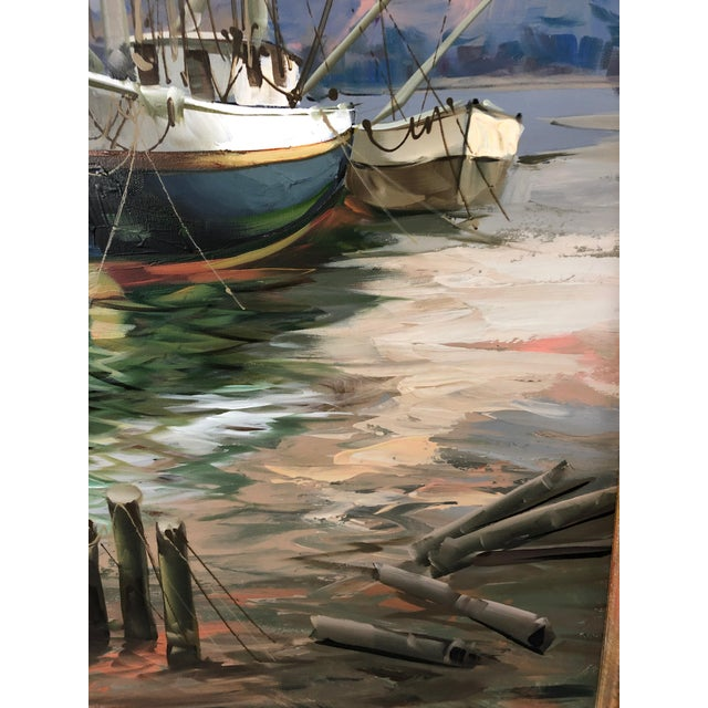 Canvas Modern Big Bold Canvas Painting of Harbor Sailboats For Sale - Image 7 of 10