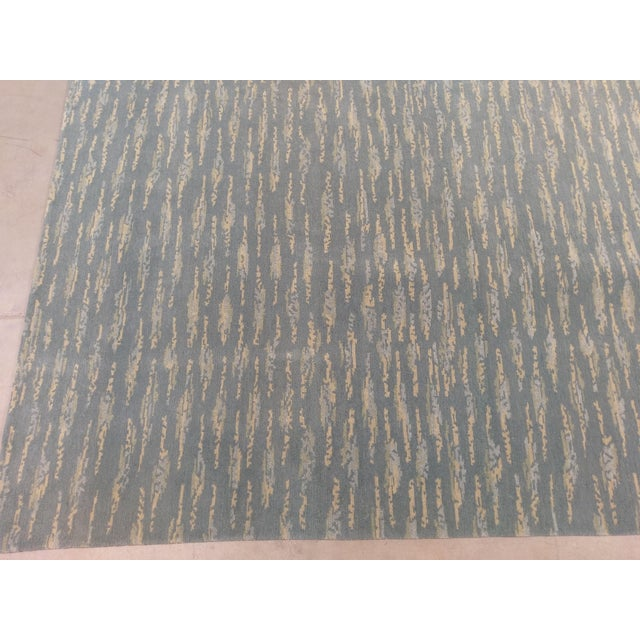 Hand Knotted Teal Contemporary Wool Rug - 9′10″ × 12′ - Image 5 of 5
