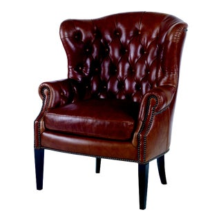 Century Furniture Huntingdon Wing Chair, Boot Brown Leather For Sale