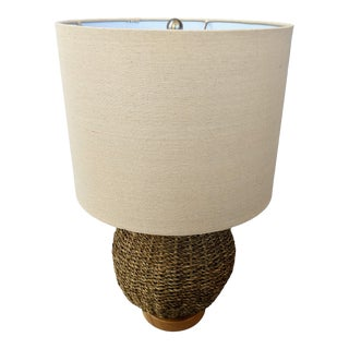 Woven Rattan Seagrass Table Lamp For Sale