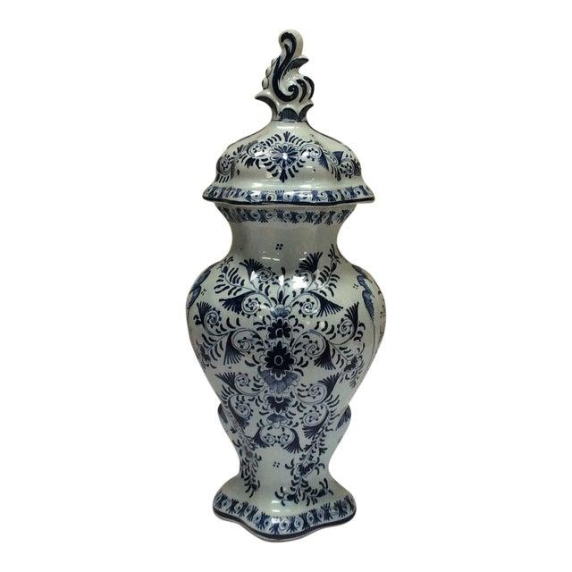 Delft Style Decorative Lidded Jar For Sale
