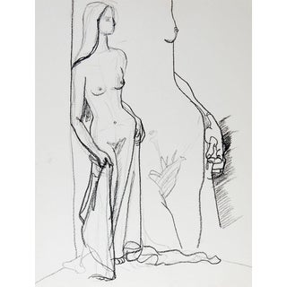 Mid Century Nude Drawing of Woman For Sale