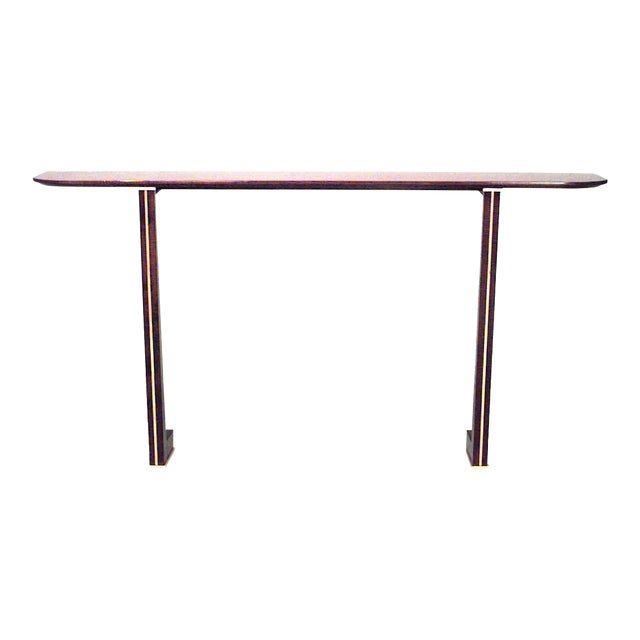 1940s Vintage French Brass-Mounted Makore Veneered Console Table For Sale