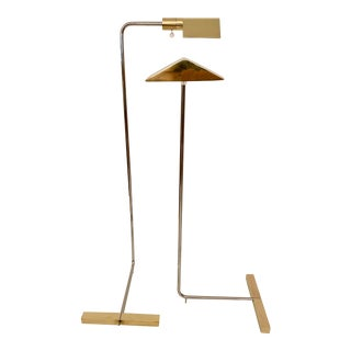 Cedric Hartman Brass / Stainless Steel Height Adjustable / Swivel Floor Lamps - Set of 2 For Sale