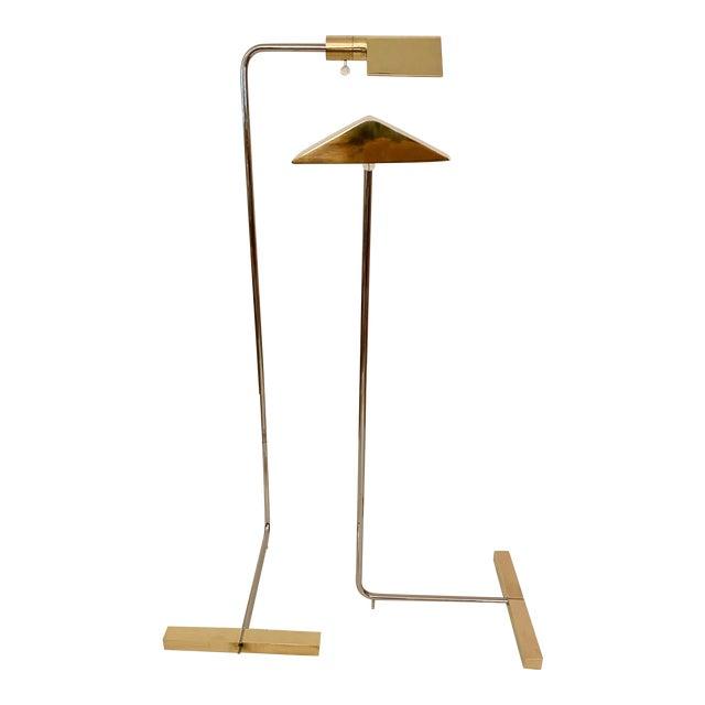 Cedric Hartman Brass / Stainless Steel Height Adjustable / Swivel Floor Lamps - Set of 2 For Sale