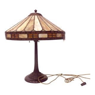 Mission Original Leaded Glass & Bronze Table Lamp