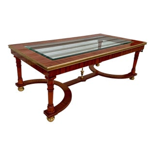 Maitland-Smith Zebra Wood and Brass Coffee Table For Sale