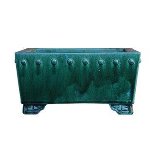 Chinese Ceramic Handmade Square Green Glaze Planter For Sale