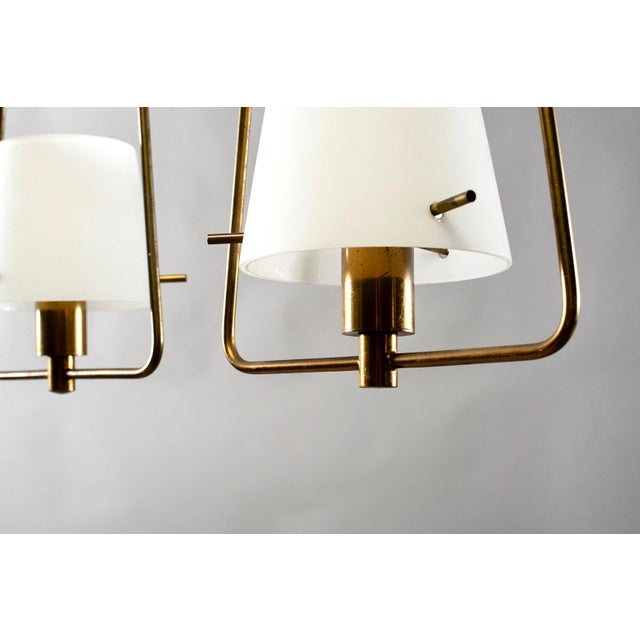 Mid Century Stilnovo Chandelier With Frosted Glass Shades For Sale - Image 11 of 12