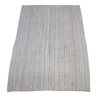Vintage Turkish Rug With Brown and Cream Stripes For Sale