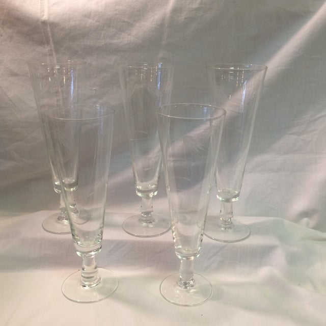 """Set of 5 Sasaki etched glass """"Wheat"""" Mid-Century Modern footed Pilsner Glassware by Noritake."""