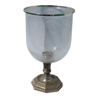 Silver Patina Bronze Deco Design Hurricane Vase, Big Size For Sale