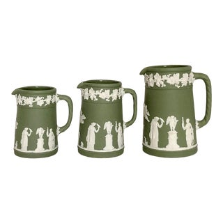 Green Jasperware Wedgwood Pitchers, Set of 3 For Sale