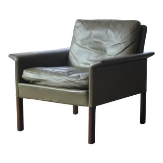 Danish Hans Olsen Lounge Chair in Green Leather and Rosewood for Cs Mobler, Denmark