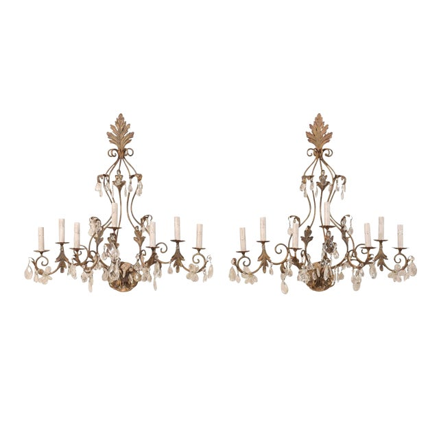 Pair of Mid-Century Seven-Light Crystal and Iron Sconces With Leaf Crest Tops For Sale