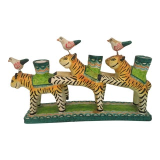 Vintage Mexican Folk Art Pottery Tiger & Bird Candelabra