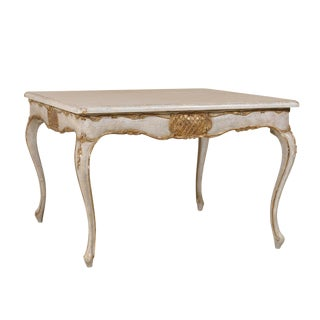 20th Century Italian Square Center Table With Gilded Central Apron Carving For Sale