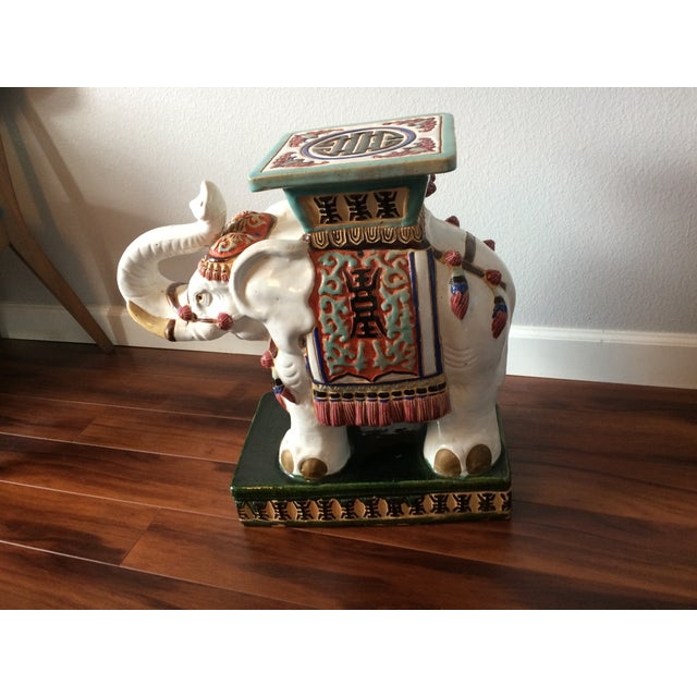 Vintage Asian Elephant Garden Stool or Side Table - Image 5 of 8