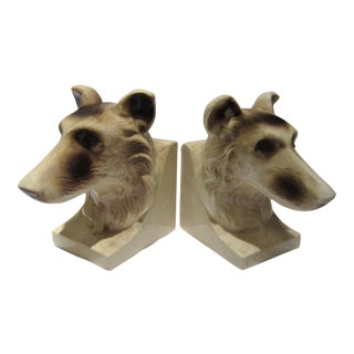 Mid-Century Ceramic Dog Bookends - a Pair