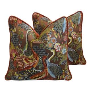 "Designer Embroidered Chinoiserie Crane Feather/Down Pillows 22"" Square - Pair For Sale"