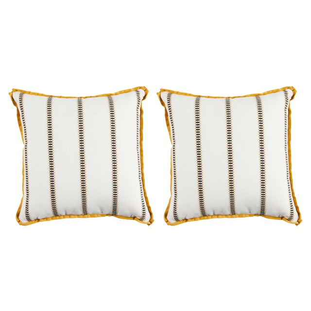 """Summer Classics Pair of Indoor/Outdoor Gingham Stripe Pillows in Mustard, 24""""x 24"""" For Sale - Image 4 of 4"""