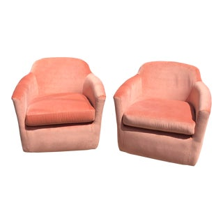 1970s Mid-Century Pink Velvet Club Chairs - a Pair For Sale