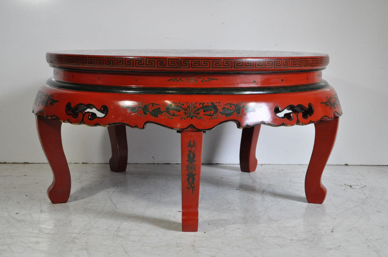 Vintage Oriental Chinese Red Lacquer Painted Folding Chinoiserie Coffee  Table   Image 3 Of 11