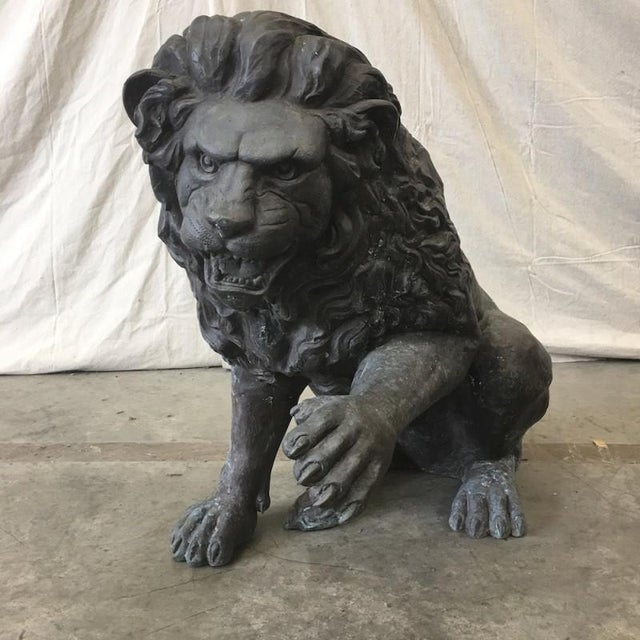 Black Large Bronze Seated Lion Sculpture Bronze Lion Statue For Sale - Image 8 of 8