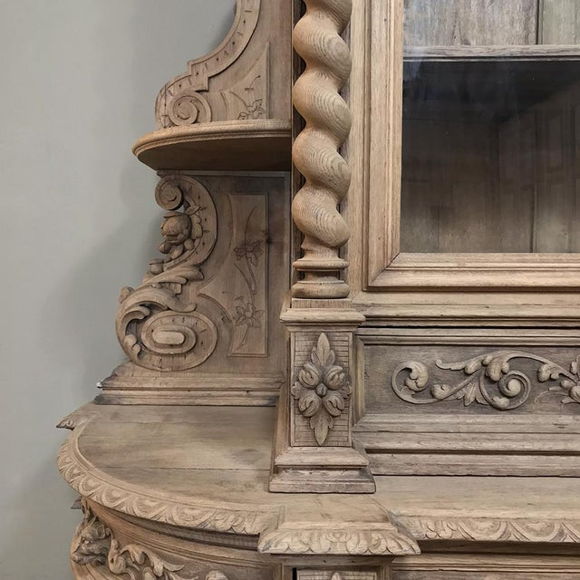 19th Century Renaissance Stripped Oak Hunt Bookcase For Sale - Image 12 of 13
