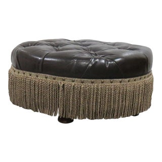 20th Century Contemporary Dark Brown Leather Chesterfield Style Ottoman For Sale