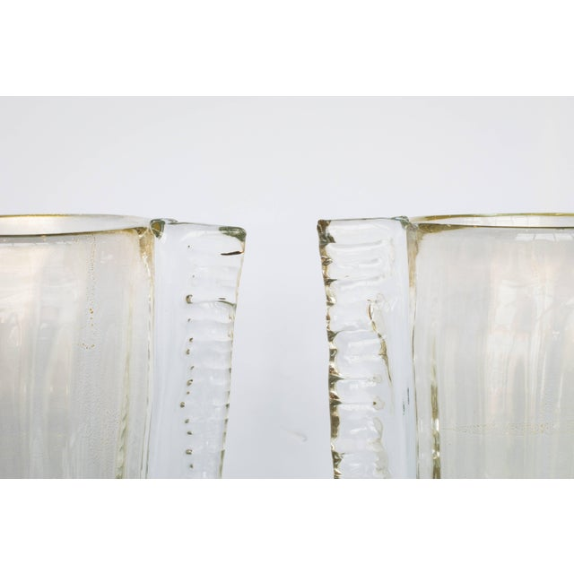 Gold Winged Murano Vases by Sergio Costantini, Pair For Sale - Image 8 of 10